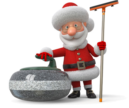 Cartoon Santa with a curling broom and rock