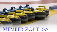 A line of yellow and blue curling stones