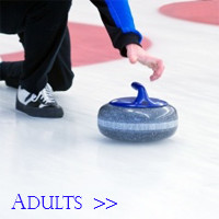 Curler releasing a blue curling stone