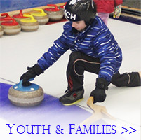 Young curler sliding out of the hack